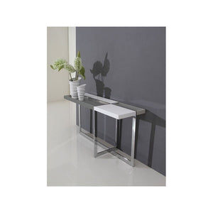 DOMINO High Gloss White Lacquer Console Table by Casabianca Home