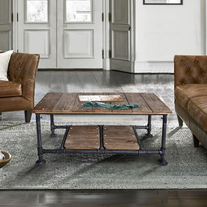 Kyle Industrial Coffee Table in Industrial Grey and Pine Wood Top