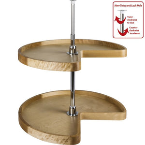 "28"" Diameter Kidney Wood Lazy Susan Set with Twist and Lock Pole"