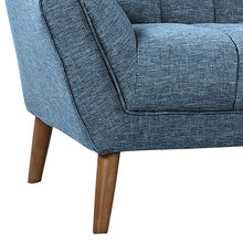 Load image into Gallery viewer, Cobra Mid-Century Modern Sofa in Blue Linen and Walnut Legs