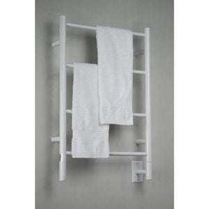 Amba I Straight 4 Bar Towel Warmer, White