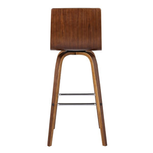 "Vienna 26"" Counter Height Barstool in Walnut Wood Finish with Brown Faux Leather"