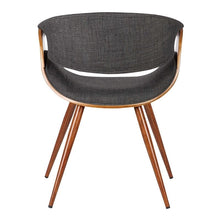 Load image into Gallery viewer, Butterfly Mid-Century Dining Chair in Walnut Finish and Charcoal Fabric