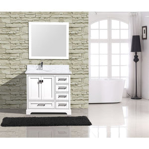 "Adornus Cambridge White 36"" Single Bathroom Vanity with mirror"