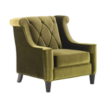 Load image into Gallery viewer, Barrister Chair In Green Velvet With Green Piping