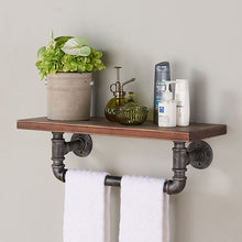 "Load image into Gallery viewer, 24"" Jarrett Industrial Pine Wood Floating Wall Shelf in Gray and Walnut Finish"
