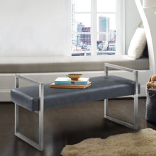 Load image into Gallery viewer, Grant Contemporary Bench in Grey Faux Leather and Brushed Stainless Steel Finish