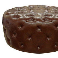 Load image into Gallery viewer, Victoria Ottoman In Brown Bonded Leather