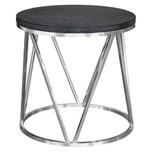 Load image into Gallery viewer, Vivian Contemporary End Table in Polished Stainless Steel Finish with Grey Top