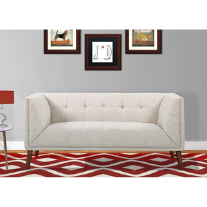 Hudson Mid-Century Button-Tufted Loveseat in Beige Linen and Walnut Legs