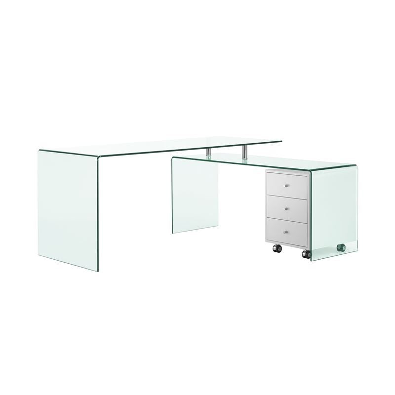 RIO High Gloss White Lacquer w Glass Office Desk by Casabianca Home