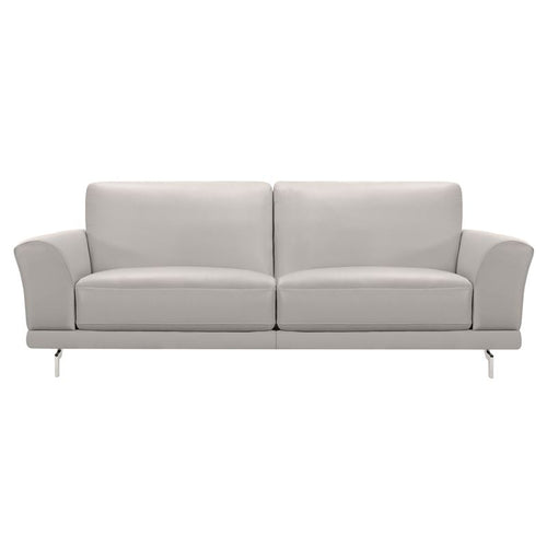 Everly Contemporary Sofa in Genuine Dove Grey Leather with Brushed Stainless Steel Legs