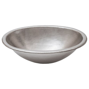 "19"" Oval Self Rimming Hammered Copper Bathroom Sink in Nickel"