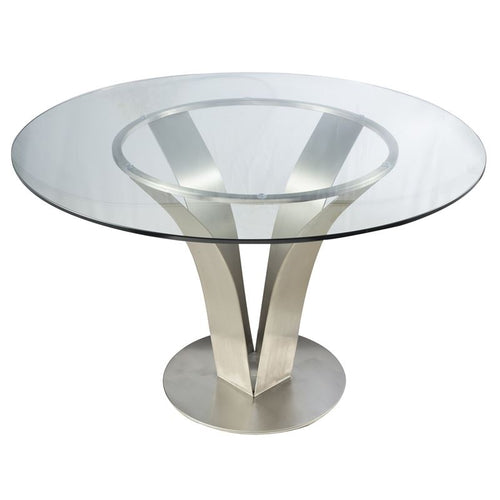 Cleo Contemporary Dining Table In Stainless Steel With Clear Glass