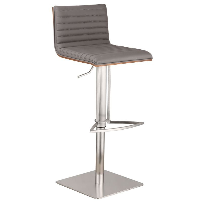 Cafe Adjustable Brushed Stainless Steel Barstool in Gray Faux Leather with Walnut Back