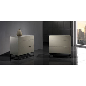 VIZZIONE High Gloss Gray Lacquer Tall Dresser/ Nightstand by Casabianca Home