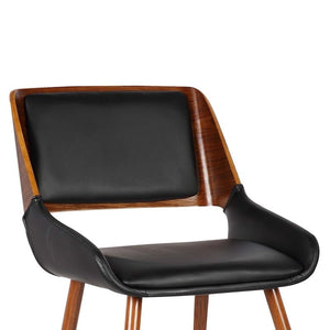 Panda Mid-Century Dining Chair in Walnut Finish and Black Faux Leather