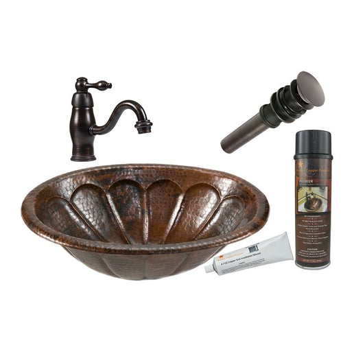 Oval Sunburst Self Rimming Hammered Copper Sink with ORB Faucet, Matching Drain