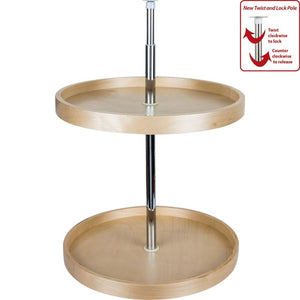 "24"" Round Banded Lazy Susan Set with Twist and Lock Adjustable Pole"