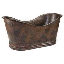 "Load image into Gallery viewer, 67"" Hammered Copper Double Slipper Bathtub"