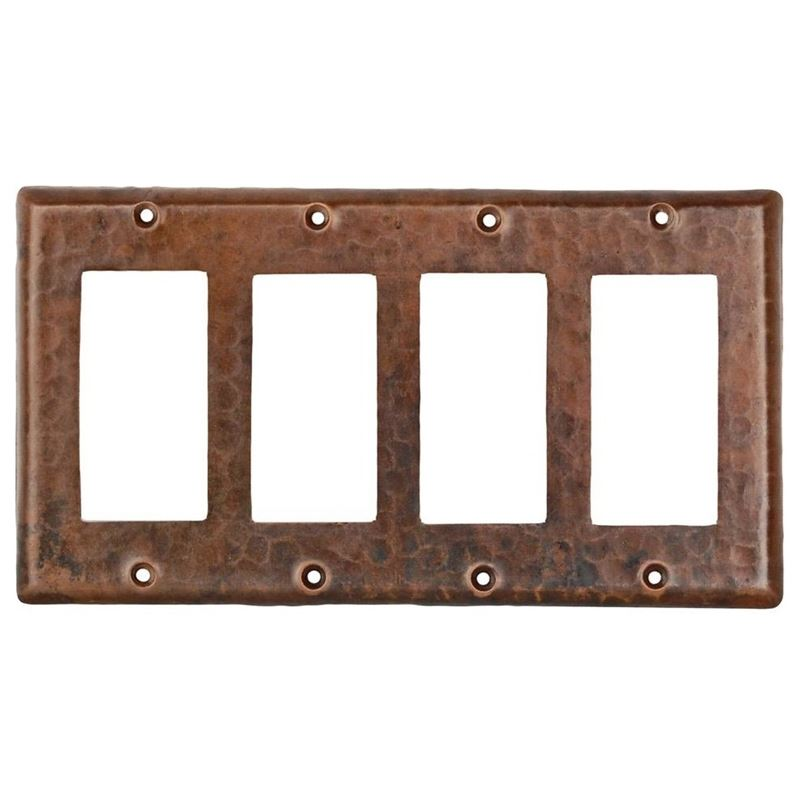 Copper Switchplate Quadruple Ground Fault/Rocker Cover GFI