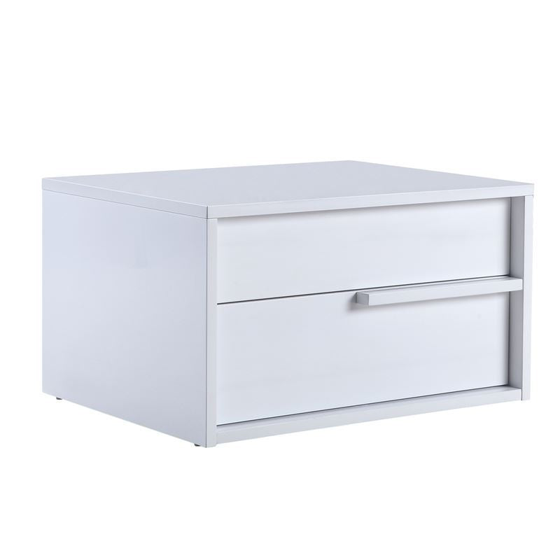 DOLCE High Gloss White Lacquer Right Side Nightstand / End Table