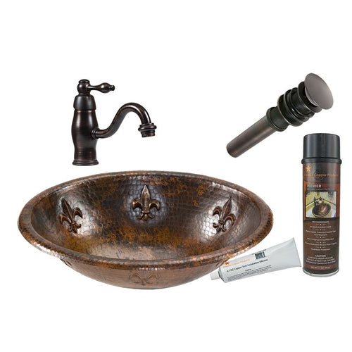 Oval Fleur De Lis Self Rimming Hammered Copper Sink w ORB Faucet, Matching Drain