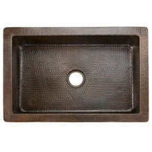 "Load image into Gallery viewer, 33"" Hammered Copper Kitchen Apron Single Basin Sink w/ Fleur De Lis"
