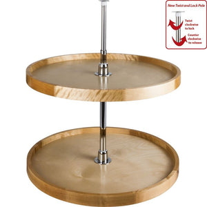 "18"" Diameter Round Wood Lazy Susan Set with Twist and Lock Pole"
