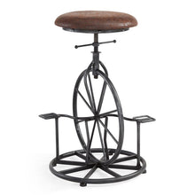 Load image into Gallery viewer, Harlem Adjustable Industrial Metal Bicycle Barstool in Industrial Gray finish with Wrangler Fabric