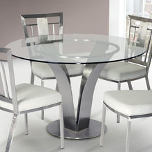 Load image into Gallery viewer, Cleo Contemporary Dining Table In Stainless Steel With Clear Glass
