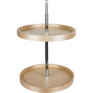 "18"" Round Banded Lazy Susan Set with Twist and Lock Adjustable Pole"