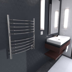 Amba Radiant Large Hardwired Curved 12 Bar Towel Warmer, Polished