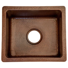 "Load image into Gallery viewer, 16"" Gourmet Rectangular Hammered Copper Bar/Prep Sink"