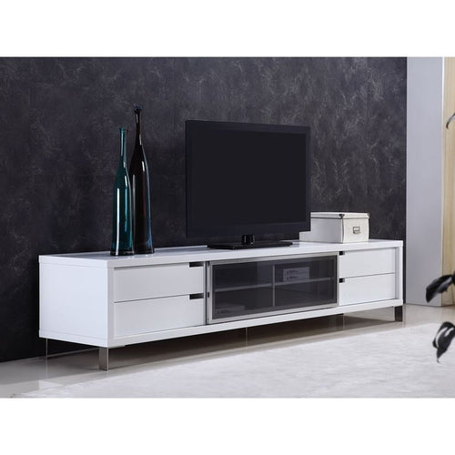 DUKE High Gloss White Lacquer Entertainment Center by Casabianca Home