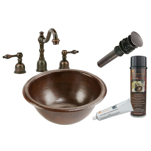 Self Rimming Hammered Copper Sink with ORB Widespread Faucet, Matching Drain