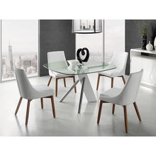 Load image into Gallery viewer, CREEK White Eco-Leather / Walnut Legs Dining Chair by Casabianca Home