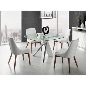 CREEK White Eco-Leather / Walnut Legs Dining Chair by Casabianca Home