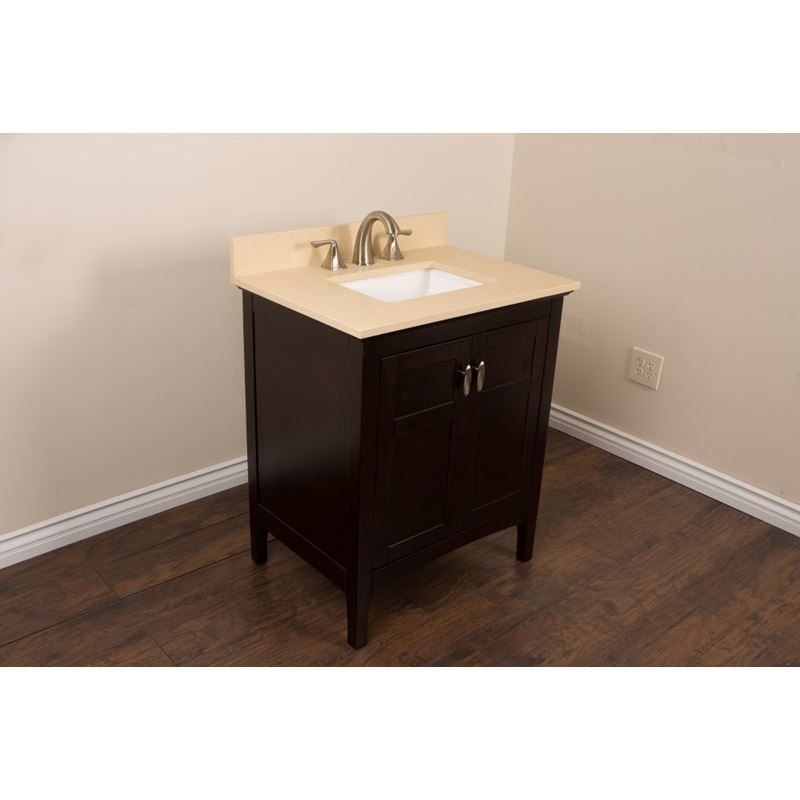 Bellaterra 30 In Single Sink Vanity In Sable Walnut With Quartz Top In Cream