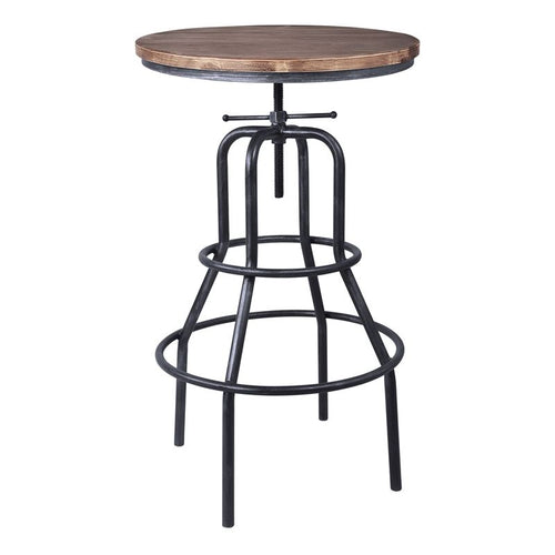 Titan Industrial Adjustable Pub Table in Industrial Grey and Pine Wood Top