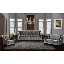 Load image into Gallery viewer, Barrister Sofa In Gray Velvet With Black Piping