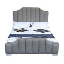 Load image into Gallery viewer, Camelot Contemporary Queen Bed with Polished Stainless Steel and Grey Fabric