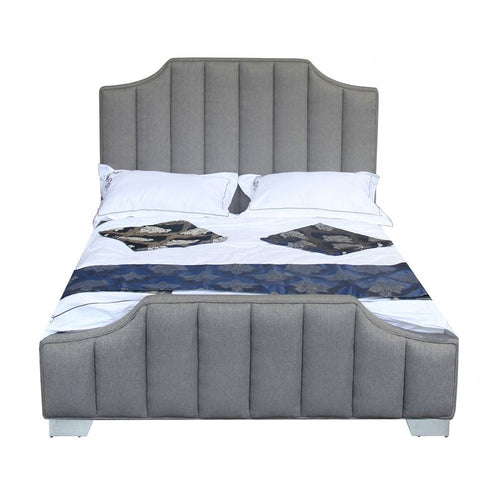 Camelot Contemporary Queen Bed with Polished Stainless Steel and Grey Fabric