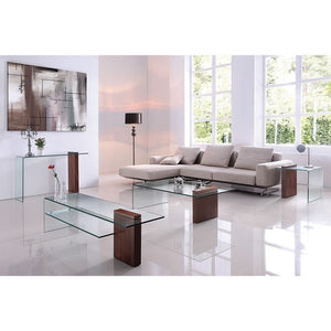 BUONO Walnut Veneer w 1/2 Clear Glass End Table by Casabianca Home