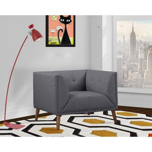 Load image into Gallery viewer, Hudson Mid-Century Button-Tufted Chair in Dark Gray Linen and Walnut Legs