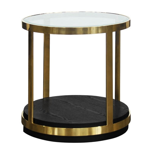 Hattie Contemporary End Table in Brushed Gold Finish and Black Wood