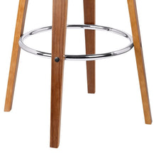 "Load image into Gallery viewer, Jayden 30"" Mid-Century Swivel Bar Height Barstool in Grey Faux Leather with Walnut Veneer"