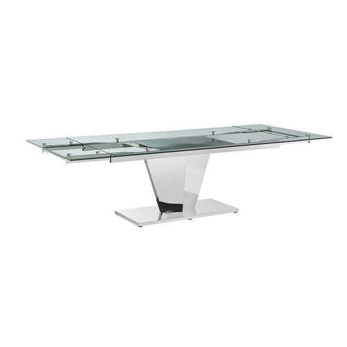 DIAMOND Polished Stainless Steel Extendable Dining Table by Casabianca Home