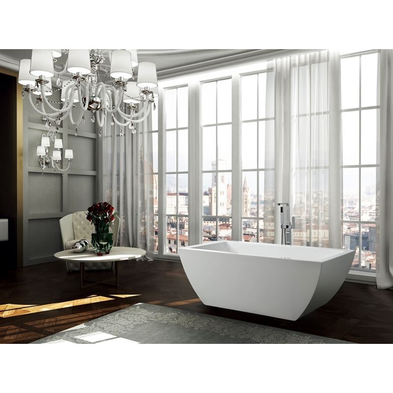 Livorno 59 inch Freestanding Bathtub in Glossy White