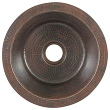 "Load image into Gallery viewer, 12"" Round Hammered Copper Bar Sink w/ 2"" Drain Size"